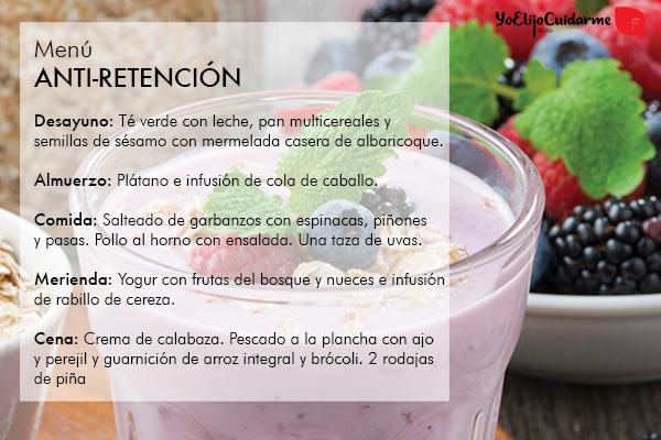 Dieta-Menú para evitar la retención de líquidos