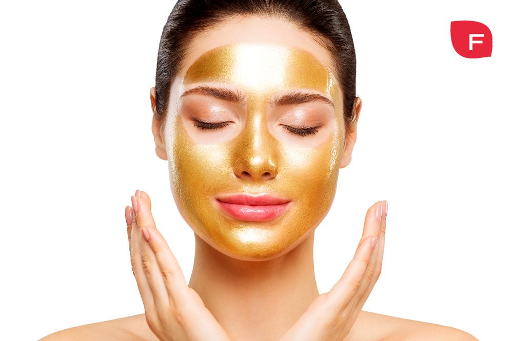 Mascarilla facial efecto oro o glitter